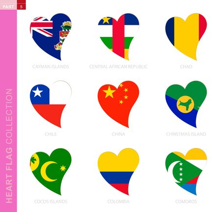Ð¡ollection of flags in the shape of a heart. 9 heart icon with flag of country Cayman Islands, Central African Republic, Chad, Chile, China, Christmas Island, Cocos Islands, Colombia, Comoros