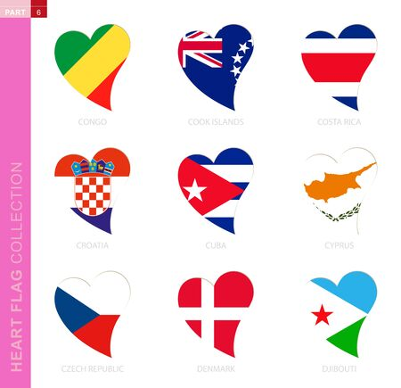 Ð¡ollection of flags in the shape of a heart. 9 heart icon with flag of country Congo, Cook Islands, Costa Rica, Croatia, Cuba, Cyprus, Czech Republic, Denmark, Djibouti