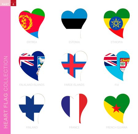 Ð¡ollection of flags in the shape of a heart. 9 heart icon with flag of country Eritrea, Estonia, Ethiopia, Falkland Islands, Faroe Islands, Fiji, Finland, France, French Guiana