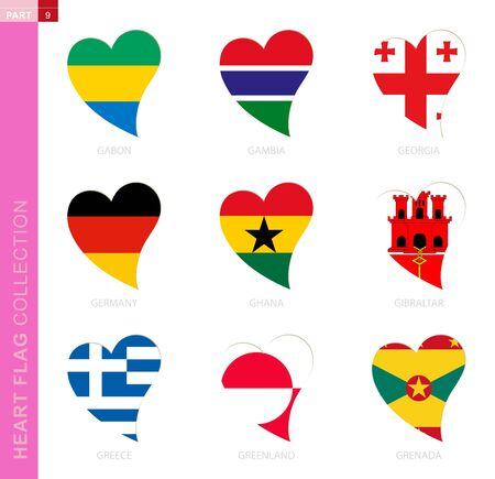 Ð¡ollection of flags in the shape of a heart. 9 heart icon with flag of country Gabon, Gambia, Georgia, Germany, Ghana, Gibraltar, Greece, Greenland, Grenada