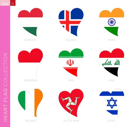 Ð¡ollection of flags in the shape of a heart. 9 heart icon with flag of country Hungary, Iceland, India, Indonesia, Iran, Iraq, Ireland, Isle of Man, Israel