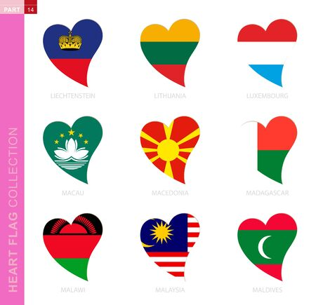 Ð¡ollection of flags in the shape of a heart. 9 heart icon with flag of country Liechtenstein, Lithuania, Luxembourg, Macau, Macedonia, Madagascar, Malawi, Malaysia, Maldives Illustration