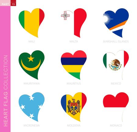 Ð¡ollection of flags in the shape of a heart. 9 heart icon with flag of country Mali, Malta, Marshall Islands, Mauritania, Mauritius, Mexico, Micronesia, Moldova, Monaco