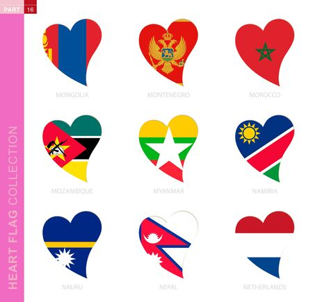 Ð¡ollection of flags in the shape of a heart. 9 heart icon with flag of country Mongolia, Montenegro, Morocco, Mozambique, Myanmar, Namibia, Nauru, Nepal, Netherlands