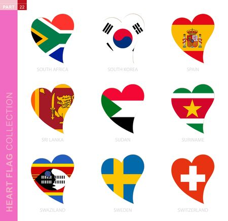 Ð¡ollection of flags in the shape of a heart. 9 heart icon with flag of country South Africa, South Korea, Spain, Sri Lanka, Sudan, Suriname, Swaziland, Sweden, Switzerland