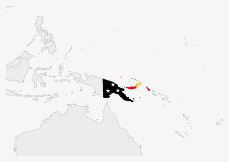 Papua New Guinea map highlighted in Papua New Guinea flag colors, gray map with neighboring countries.