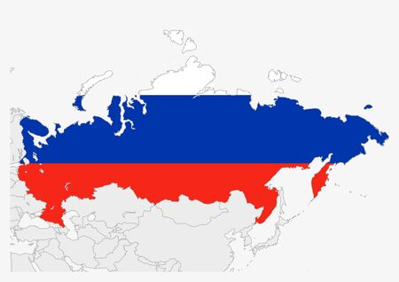 Russia map highlighted in Russia flag colors, gray map with neighboring countries.