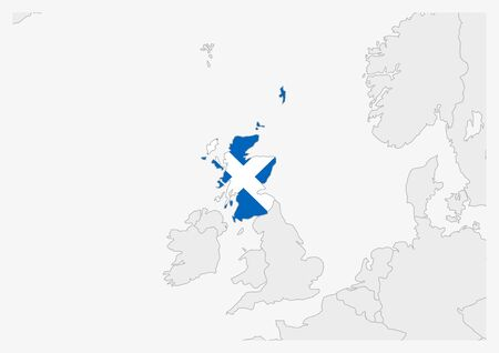 Scotland map highlighted in Scotland flag colors, gray map with neighboring countries. Ilustrace