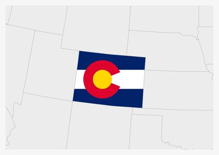 US state Colorado map highlighted in Colorado flag colors, gray map with neighboring usa states.