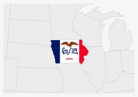 US state Iowa map highlighted in Iowa flag colors, gray map with neighboring usa states. Ilustrace