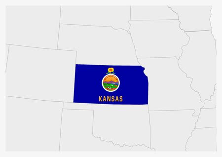 US state Kansas map highlighted in Kansas flag colors, gray map with neighboring usa states. Ilustrace