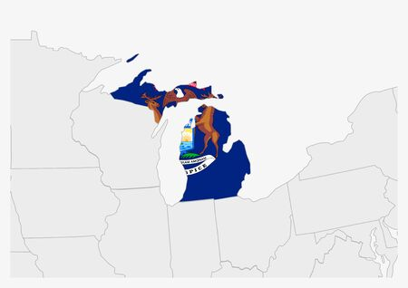 US state Michigan map highlighted in Michigan flag colors, gray map with neighboring usa states.