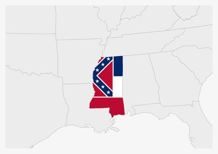 US state Mississippi map highlighted in Mississippi flag colors, gray map with neighboring usa states.