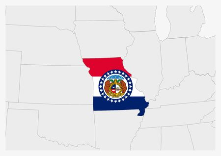 US state Missouri map highlighted in Missouri flag colors, gray map with neighboring usa states.