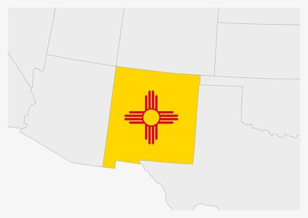 US state New Mexico map highlighted in New Mexico flag colors, gray map with neighboring usa states.