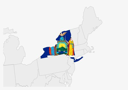 US state New York map highlighted in New York flag colors, gray map with neighboring usa states.