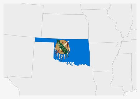 US state Oklahoma map highlighted in Oklahoma flag colors, gray map with neighboring usa states.
