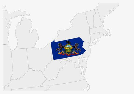 US state Pennsylvania map highlighted in Pennsylvania flag colors, gray map with neighboring usa states. Ilustrace