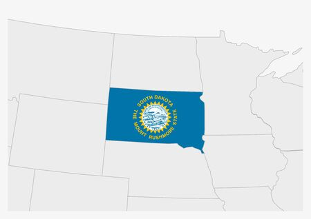 US state South Dakota map highlighted in South Dakota flag colors, gray map with neighboring usa states.