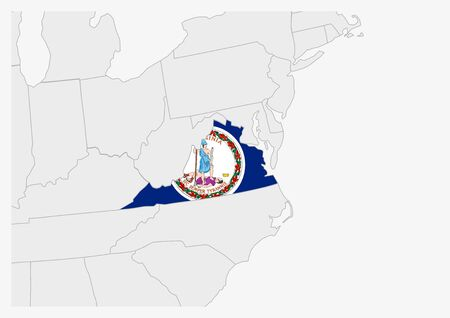 US state Virginia map highlighted in Virginia flag colors, gray map with neighboring usa states.