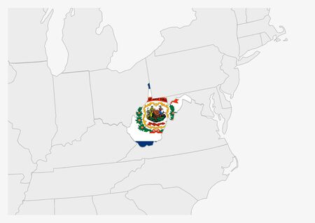 US state West Virginia map highlighted in West Virginia flag colors, gray map with neighboring usa states. Ilustrace
