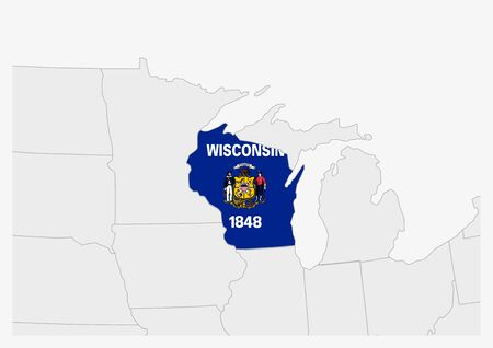 US state Wisconsin map highlighted in Wisconsin flag colors, gray map with neighboring usa states.