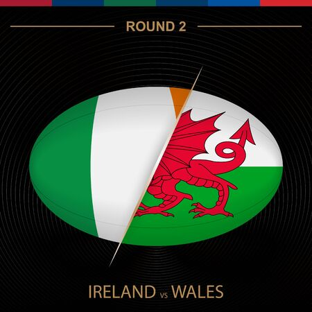 Ireland vs Wales in Rugby Tournament round 2, ball shaped rugby icon on black background. Vector template. Ilustração