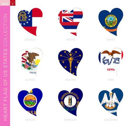 Ð¡ollection of US State flags in the shape of a heart. 9 heart icon with state flag of Georgia, Hawaii, Idaho, Illinois, Indiana, Iowa, Kansas, Kentucky, Louisiana