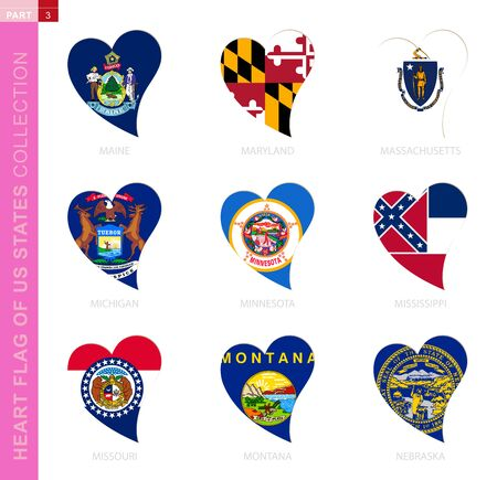 Ð¡ollection of US State flags in the shape of a heart. 9 heart icon with state flag of Maine, Maryland, Massachusetts, Michigan, Minnesota, Mississippi, Missouri, Montana, Nebraska Ilustração