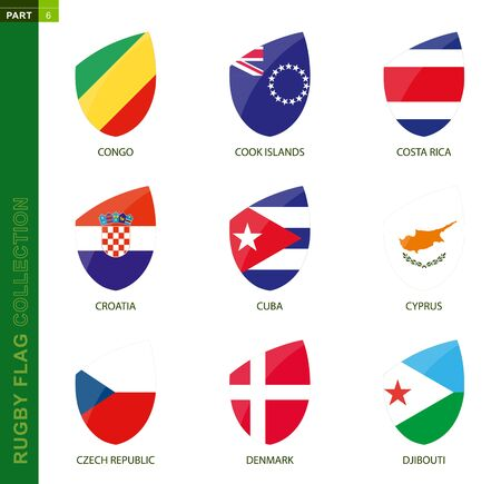 Rugby flag collection. Rugby icon with flag of 9 countries: Congo, Cook Islands, Costa Rica, Croatia, Cuba, Cyprus, Czech Republic, Denmark, Djibouti