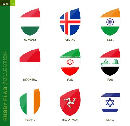 Rugby flag collection. Rugby icon with flag of 9 countries: Hungary, Iceland, India, Indonesia, Iran, Iraq, Ireland, Isle of Man, Israel Illusztráció