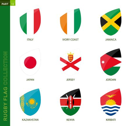 Rugby flag collection. Rugby icon with flag of 9 countries: Italy, Ivory coast, Jamaica, Japan, Jersey, Jordan, Kazakhstan, Kenya, Kiribati Ilustração