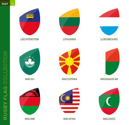 Rugby flag collection. Rugby icon with flag of 9 countries: Liechtenstein, Lithuania, Luxembourg, Macau, Macedonia, Madagascar, Malawi, Malaysia, Maldives