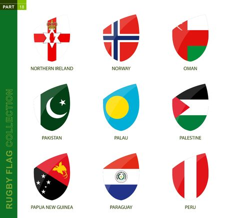 Rugby flag collection. Rugby icon with flag of 9 countries: Northern Ireland, Norway, Oman, Pakistan, Palau, Palestine, Papua New Guinea, Paraguay, Peru