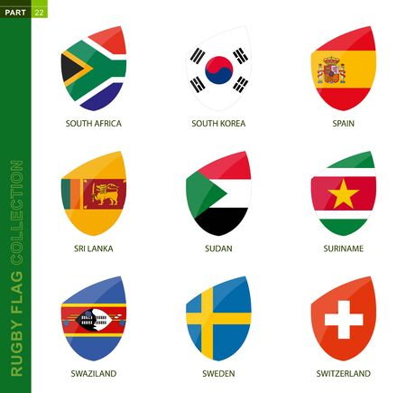 Rugby flag collection. Rugby icon with flag of 9 countries: South Africa, South Korea, Spain, Sri Lanka, Sudan, Suriname, Swaziland, Sweden, Switzerland