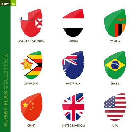 Rugby flag collection. Rugby icon with flag of 9 countries: Australia, Brazil, China, UK, USA, Wallis and Futuna, Yemen, Zambia, Zimbabwe