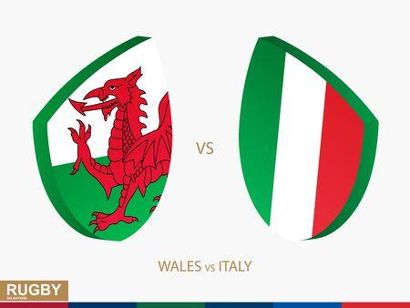 Match de rugby du Pays de Galles contre l'Italie, icône des tournois de rugby. Modèle vectoriel.