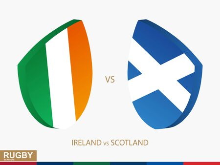 Ireland v Scotland rugby match, rugby tournaments icon. Vector template.