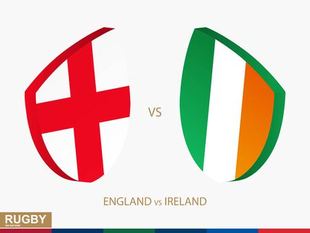 England v Ireland rugby match, rugby tournaments icon. Vector template.