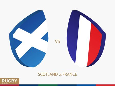 Scotland v France rugby match, rugby tournaments icon. Vector template. 向量圖像