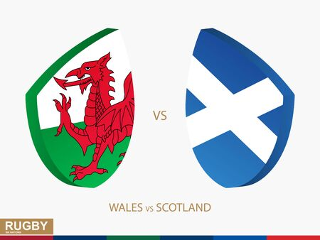 Wales v Scotland rugby match, rugby tournaments icon. Vector template.