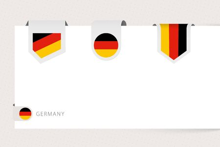 Label flag collection of Germany in different shape. Ribbon flag template of Germany hanging from paper or different surface.