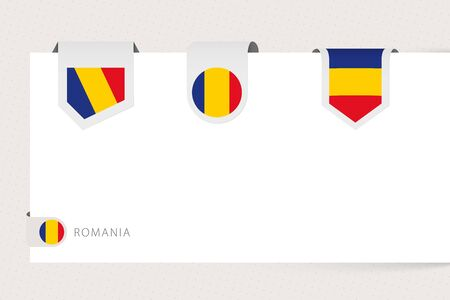 Label flag collection of Romania in different shape. Ribbon flag template of Romania hanging from paper or different surface. 矢量图像
