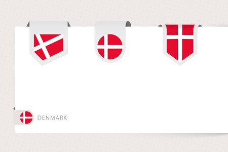 Label flag collection of Denmark in different shape. Ribbon flag template of Denmark hanging from paper or different surface. Ilustrace