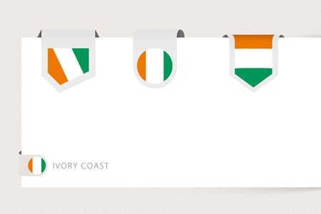Label flag collection of Ivory Coast in different shape. Ribbon flag template of Ivory Coast hanging from paper or different surface.