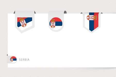 Label flag collection of Serbia in different shape. Ribbon flag template of Serbia hanging from paper or different surface.