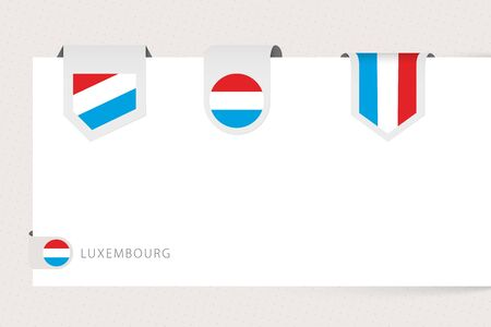 Label flag collection of Luxembourg in different shape. Ribbon flag template of Luxembourg hanging from paper or different surface.