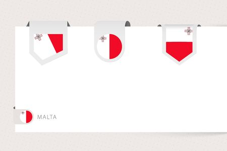 Label flag collection of Malta in different shape. Ribbon flag template of Malta hanging from paper or different surface.