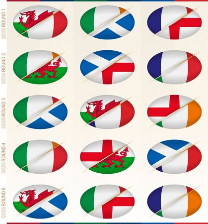 Collection of fifteen rugby matches for rugby tournament, vector flags stylized Rugby ball. Banque d'images - 139499745