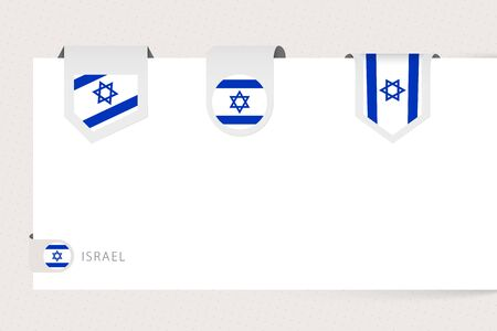 Label flag collection of Israel in different shape. Ribbon flag template of Israel hanging from paper or different surface. Illustration
